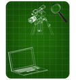 3d model of laptop and camcorder with a tripod vector image vector image
