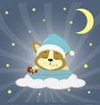 a cute corgie puppy in a green hat is sleeping on vector image vector image