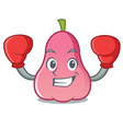 boxing rose apple character cartoon vector image