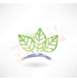 Brush icon with three green leafs Ecology vector image