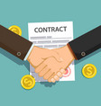 businessmen shake hands against a paper contract vector image