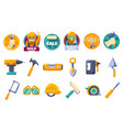 cartoon icons set with tools for hardware store vector image vector image