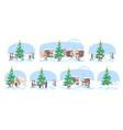 christmas fair flat set winter market stalls vector image