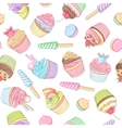 Colorful cupcake lollipop marshmallow seamless vector image