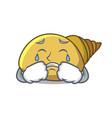 crying mollusk shell mascot cartoon vector image