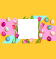 easter eggs and tulips vector image vector image