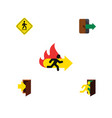 flat icon door set of open door directional fire vector image vector image