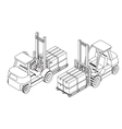 Forklift elevate the pallet with cardboard boxes vector image vector image