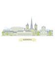 geneva switzerland - old town city panorama vector image vector image