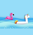giant inflatable fantasy unisorn and pink flamingo vector image vector image
