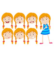 Girl with blond hair with many facial expressions vector image
