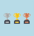 gold silver bronze trophy cup1st 2nd 3rd place vector image