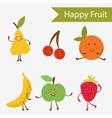 Happy fruit characters vector image vector image