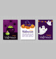 happy halloween flat greeting cards vector image vector image
