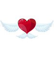 heart with wings flat style vector image vector image
