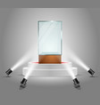 illuminated podium with empty glass vector image vector image
