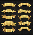 isolated modern golden shiny 3d ribbon banners vector image vector image