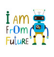 kids t-shirt design with robot vector image