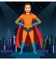 man in superhero costume watching over night city vector image