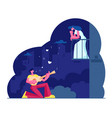 man play guitar sing song to woman on balcony vector image