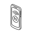 mobile commerce icon doodle hand drawn or outline vector image vector image