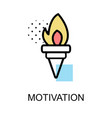 motivationicon with torch on white background vector image