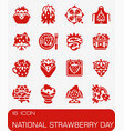 national strawberry day icon set vector image
