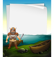 Paper design with viking at the sea vector image vector image