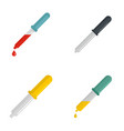 pipette medical dropper tool icons set flat style vector image vector image