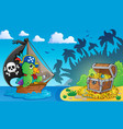 pirate theme with treasure chest 4 vector image vector image