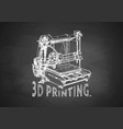 plastic 3d printer on blackboard vector image