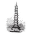 Porcelain Tower vintage engraving vector image