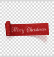 realistic merry christmas scroll red label vector image vector image