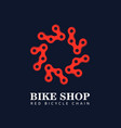 red bicycle chain around circle isolated vector image vector image