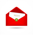 Red Envelope letter Merry Christmas white card vector image vector image