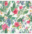seamless pattern of tropical flowers and vector image