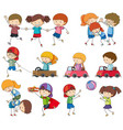 set of kids playing vector image vector image
