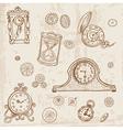 set vintage doodle clock vector image vector image