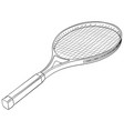 tennis racket with a ball flat black hand drawn vector image vector image