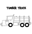 Tumber truck with hand draw vector image vector image