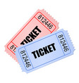 two overlapping movie tickets in retro style vector image