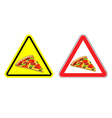 Warning attention sign pizza Dangers yellow sign vector image
