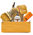 wooden board with safari accessories vector image vector image
