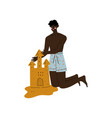 young african american man making sand castle on vector image vector image