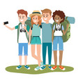 young friends tourists vector image