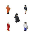 isometric people set of detective female cleaner vector image