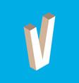 isometric letter v vector image