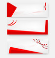 3 style blank template red and white banner vector image vector image