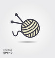 a ball of wool and knitting needles vector image vector image