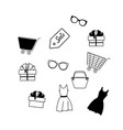 a set line icons for sale dress bag trolley vector image